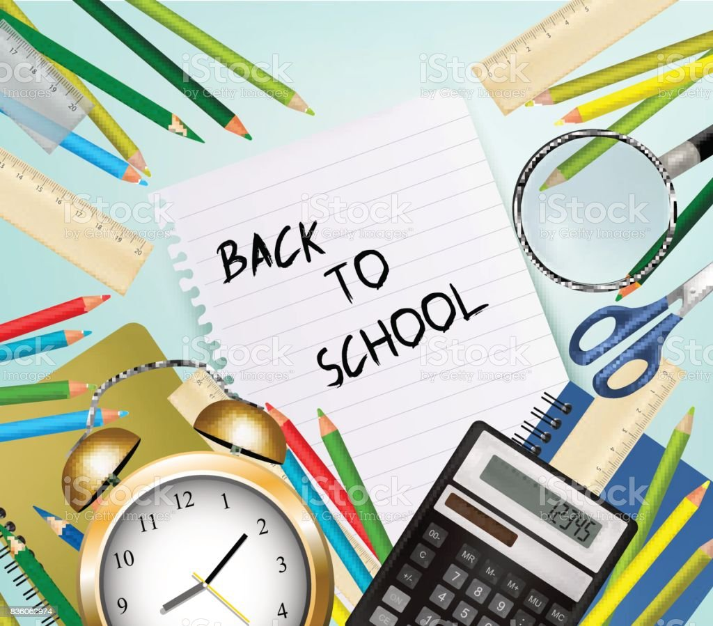 Back To School Background With Supplies Tool. Layered Vector. vector art illustration
