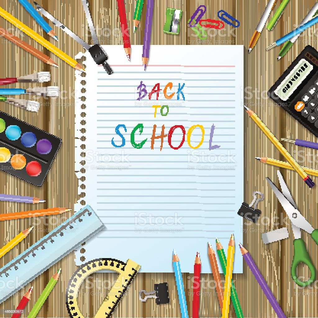 Back to school background with supplies tools vector art illustration
