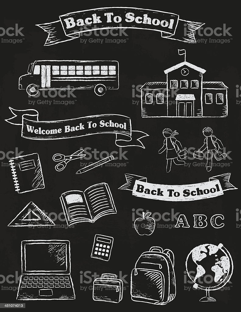 Back To School Banners and Elements vector art illustration