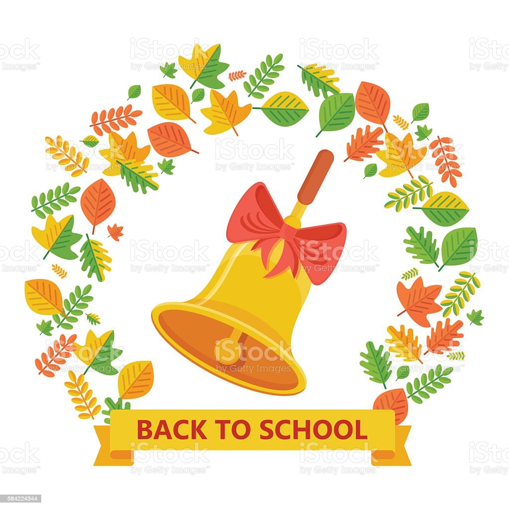 back to school bell and autumn leavs vector art illustration