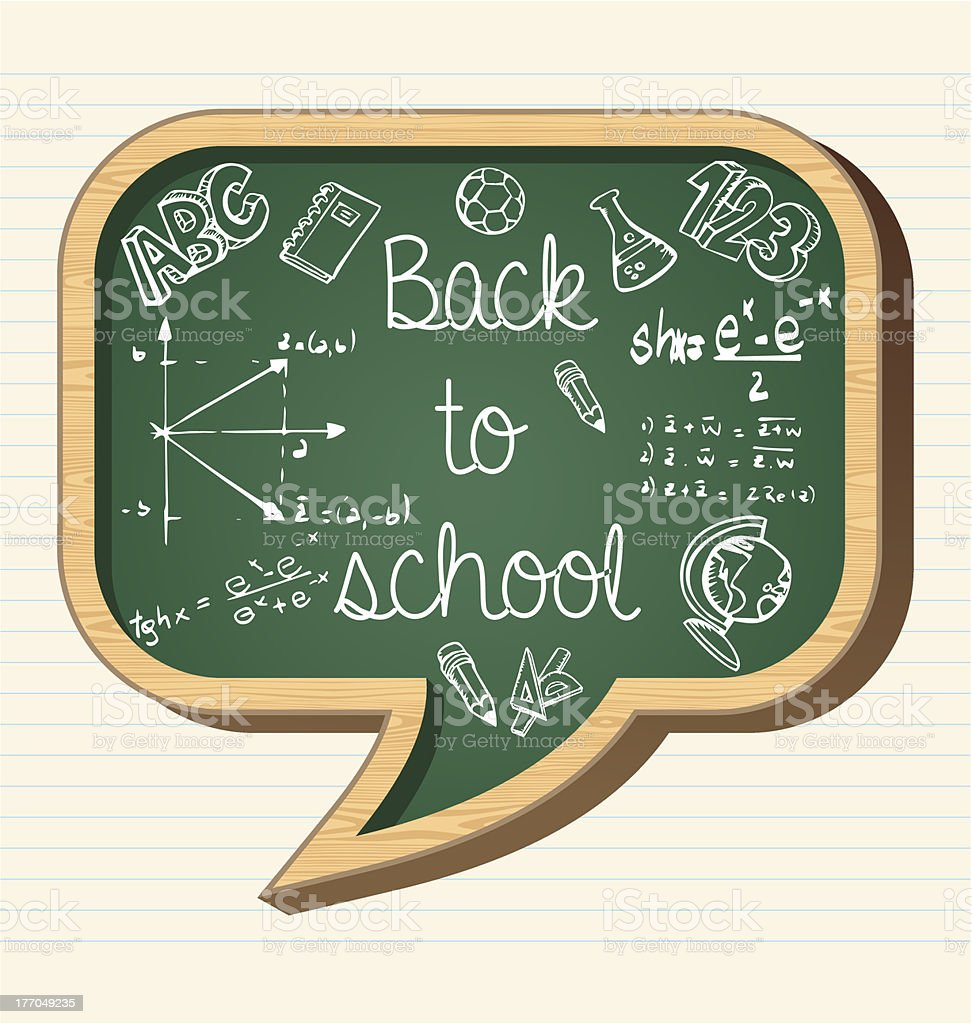 Back to school blackboard speech bubble shape royalty-free stock vector art