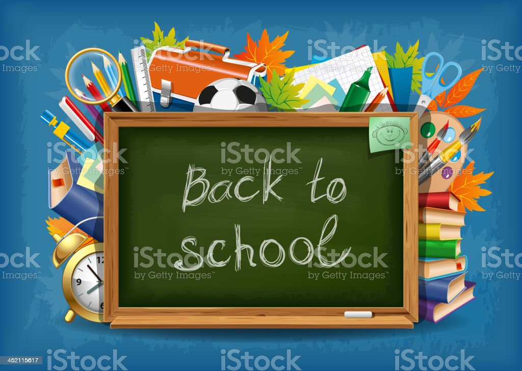 Back to school blackboard with school supplies behind royalty-free stock vector art
