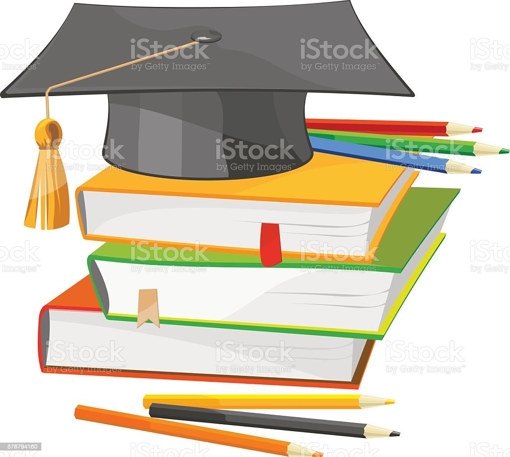 Back to school books and graduation hat vector illustration vector art illustration