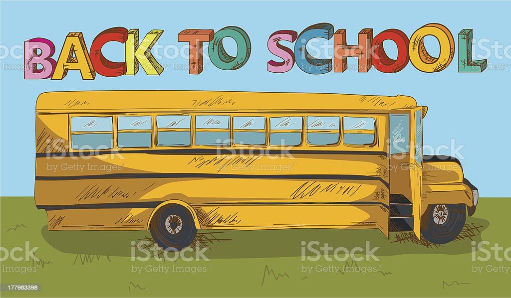Back to School bus background royalty-free stock vector art