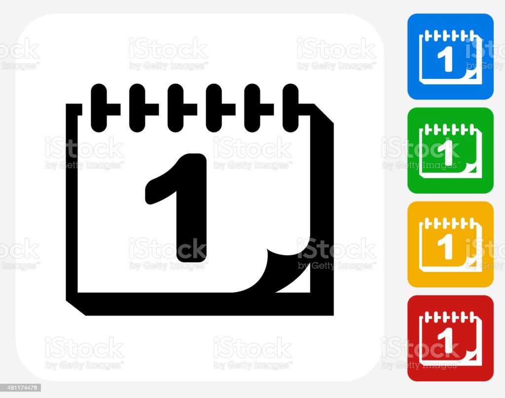Back to School Calendar Icon Flat Graphic Design vector art illustration