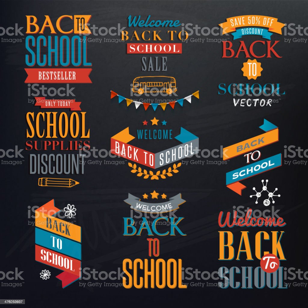 Back to School Calligraphic Designs royalty-free stock vector art