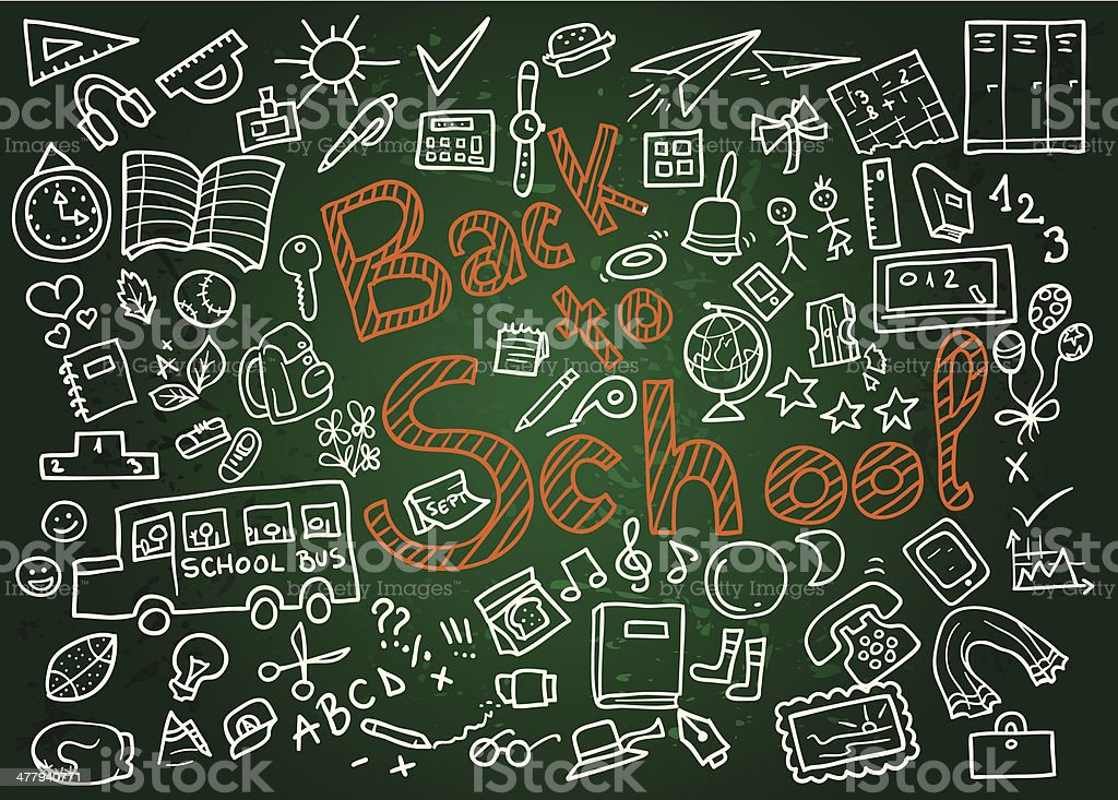 Back to School Chalk Writing on Blackboard vector art illustration