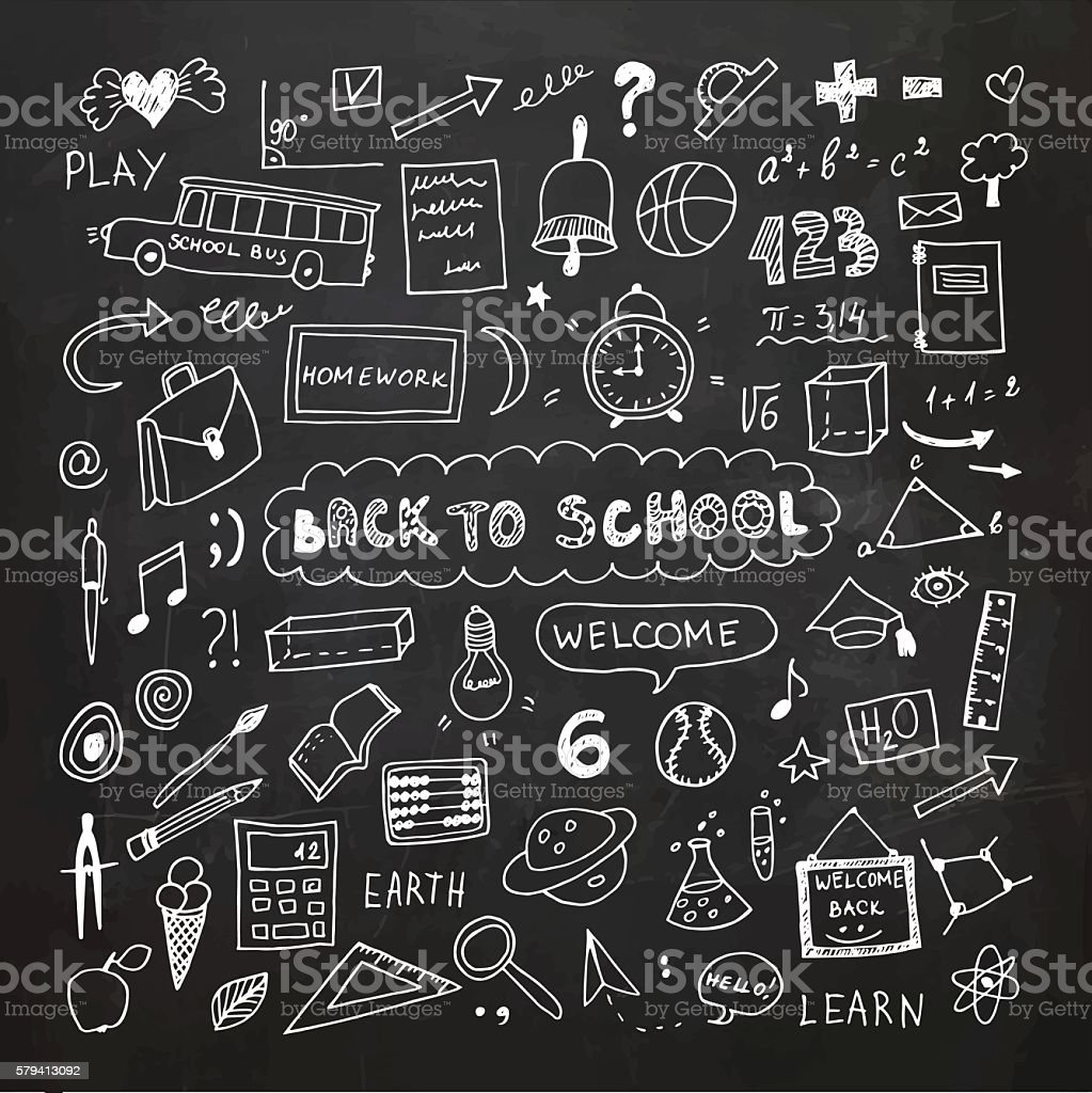 Back to school. Chalkboard doodle set. Freehand drawing vector art illustration