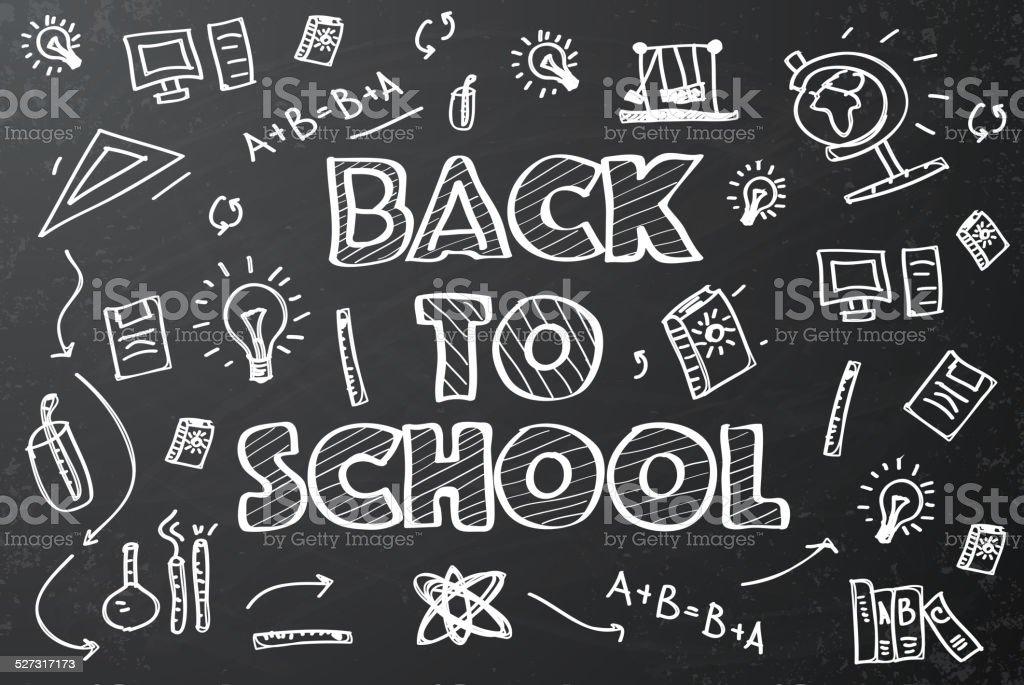 Back to school chalkboard sketch vector art illustration