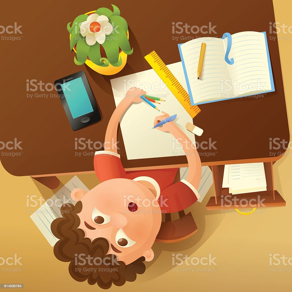 Back to school concept illustration with student boy. Top view vector art illustration
