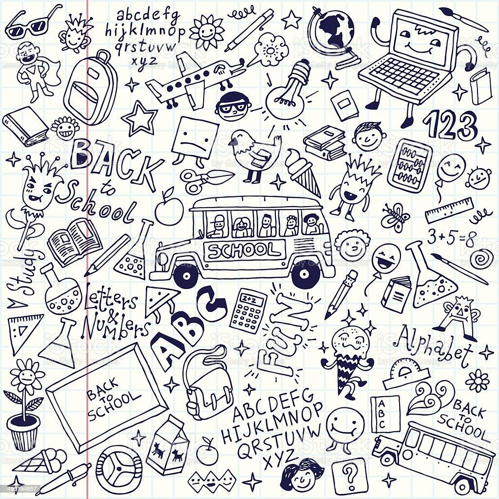 Back to school doodle mega set. School notebook. Vector illustration. vector art illustration