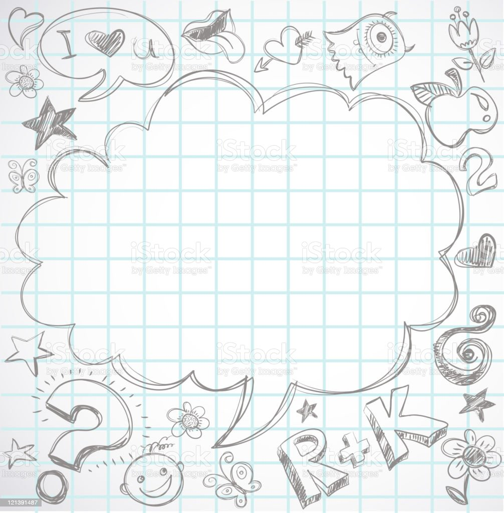 back to school - doodle speech bubble on notebook royalty-free stock vector art