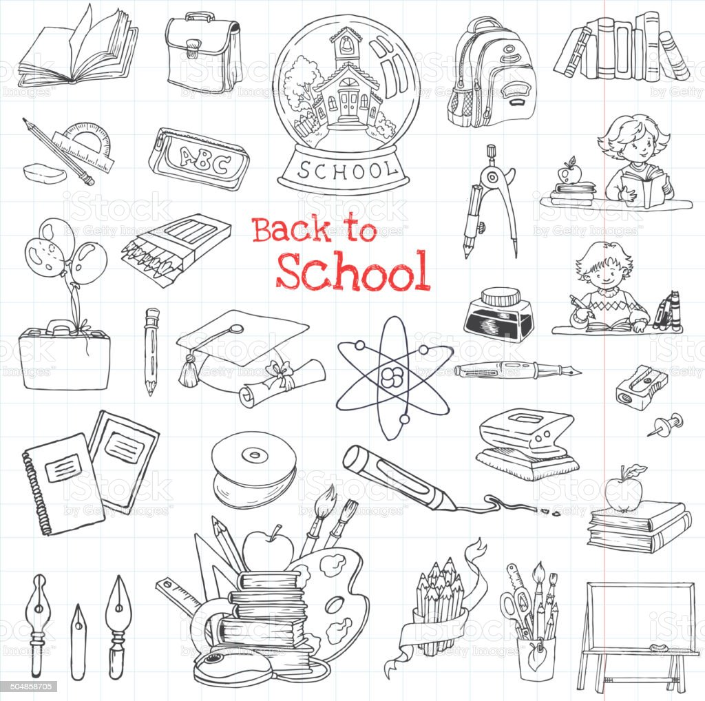 Back to School Doodles - Hand-Drawn Vector Illustration vector art illustration