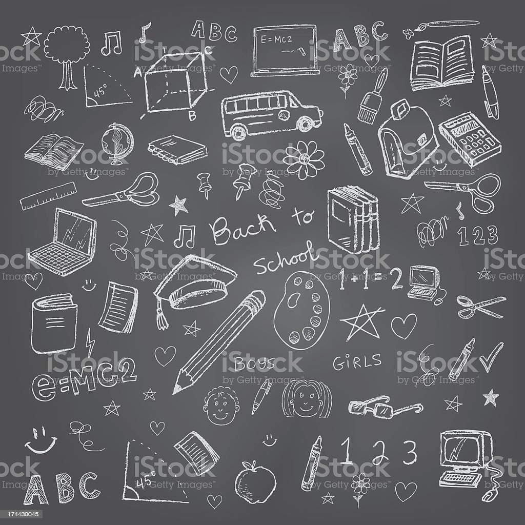 Back to school doodles in chalkboard background royalty-free stock vector art