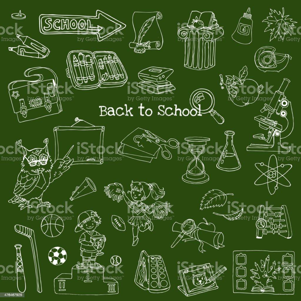 Back To School Doodles royalty-free stock vector art
