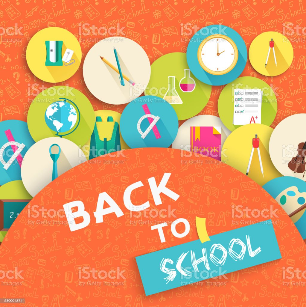 Back to school education vector art icons background vector art illustration
