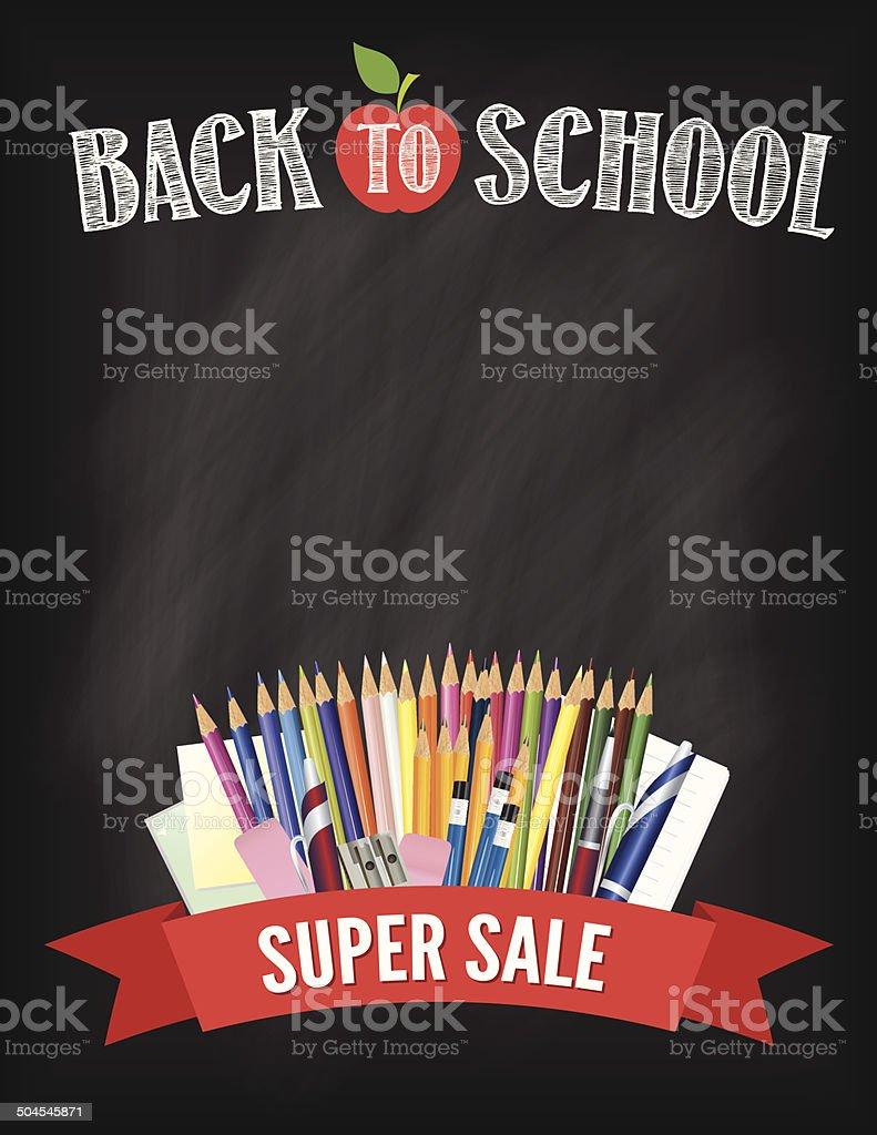 Back To School Fall Sale Blackboard Design Template vector art illustration