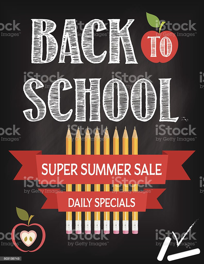 Back To School Fall Sale Blackboard royalty-free stock vector art