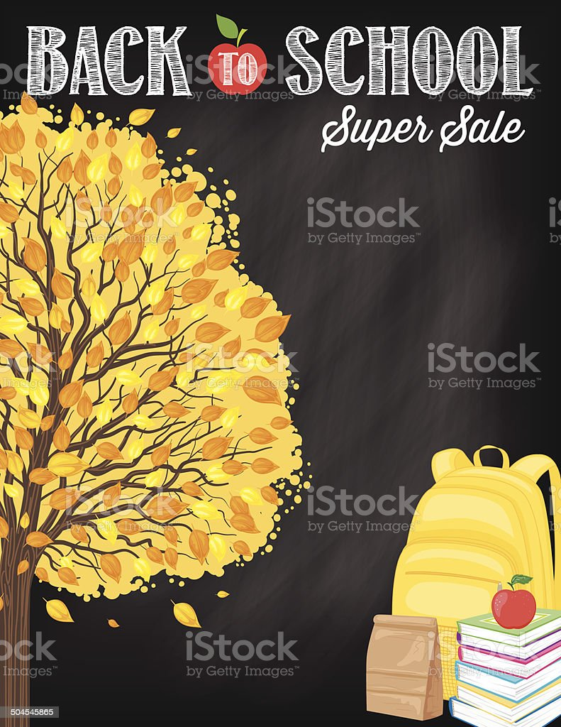 Back To School Fall Sale Blackboard With Tree vector art illustration