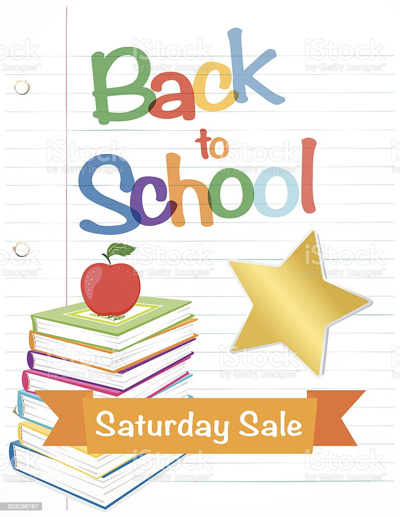 Back To School Fall Sale Lined Paper vector art illustration