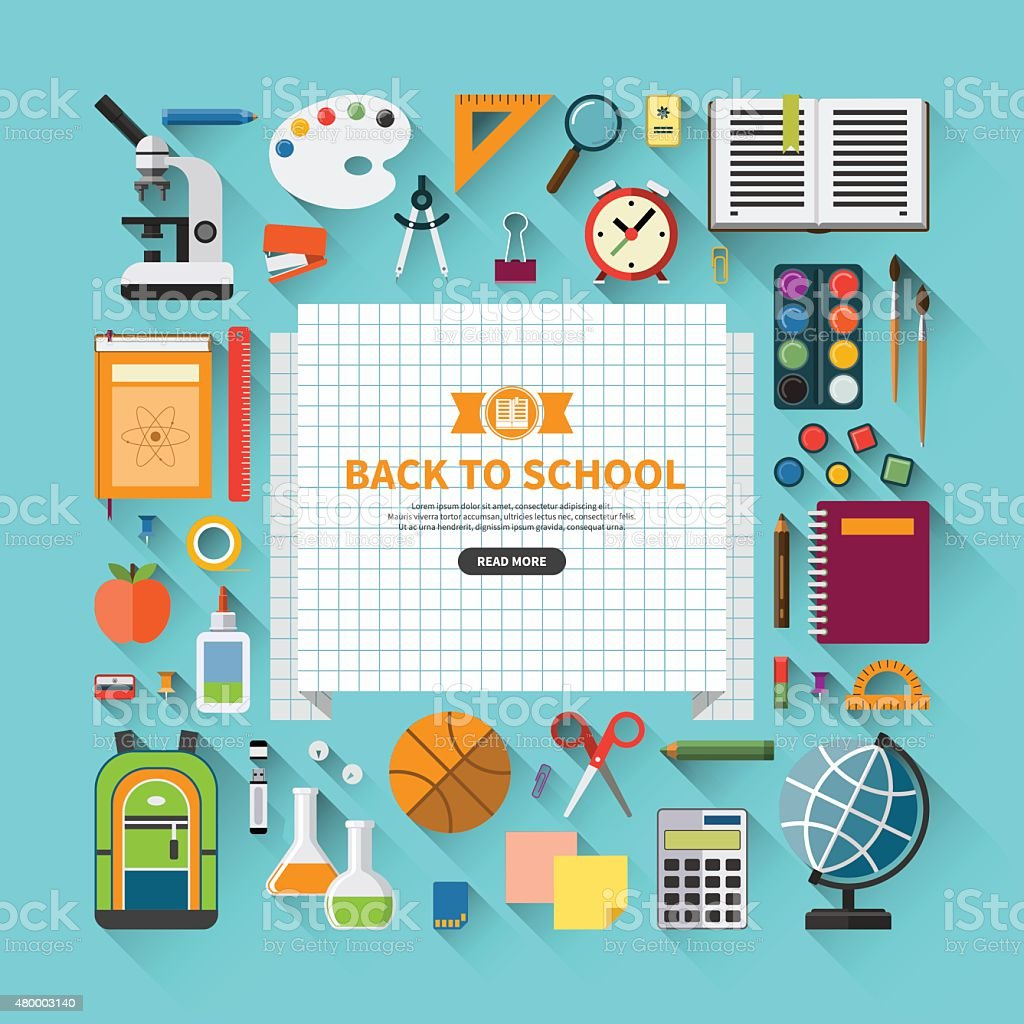 Back to school flat design modern vector background vector art illustration