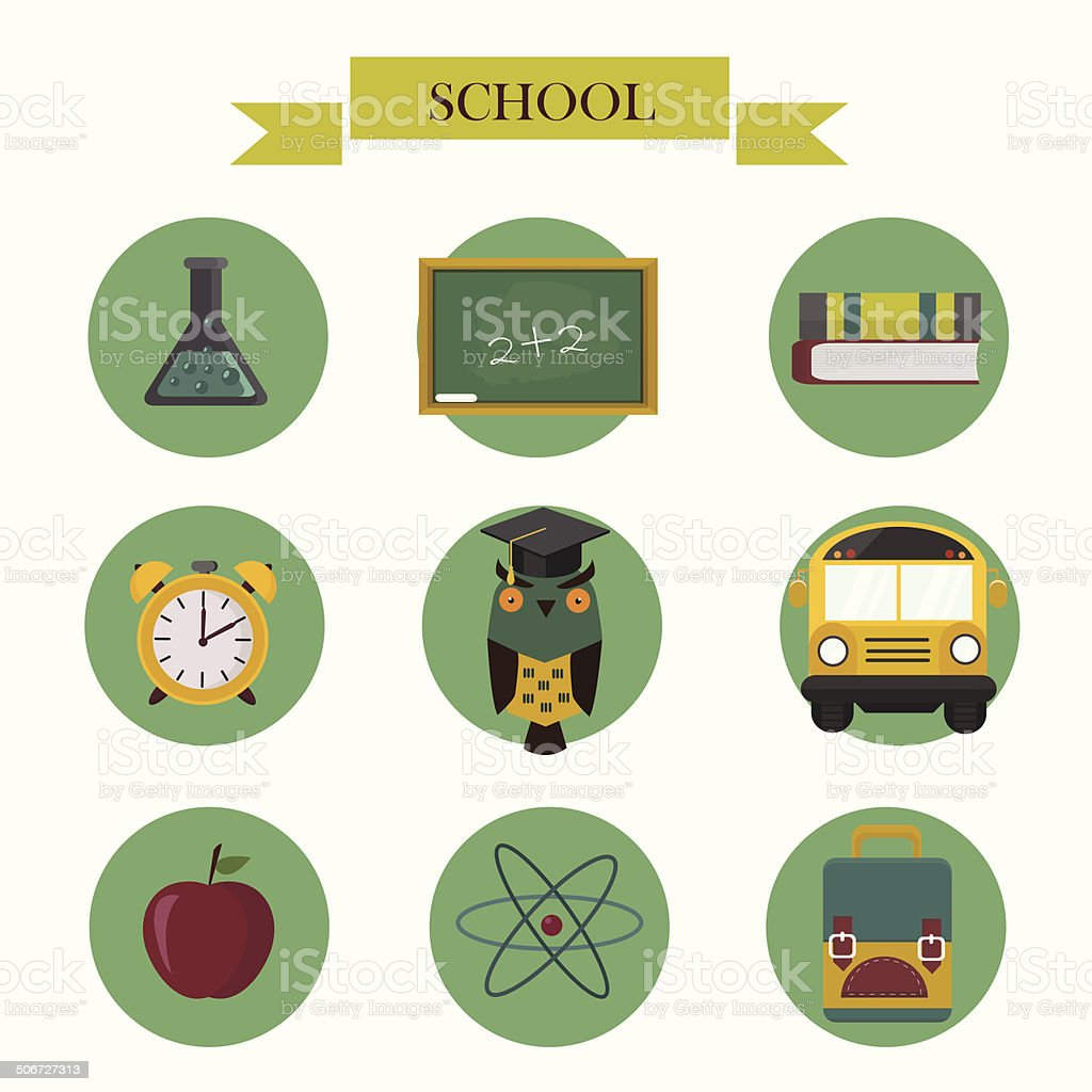 Back to school flat icons set royalty-free stock vector art