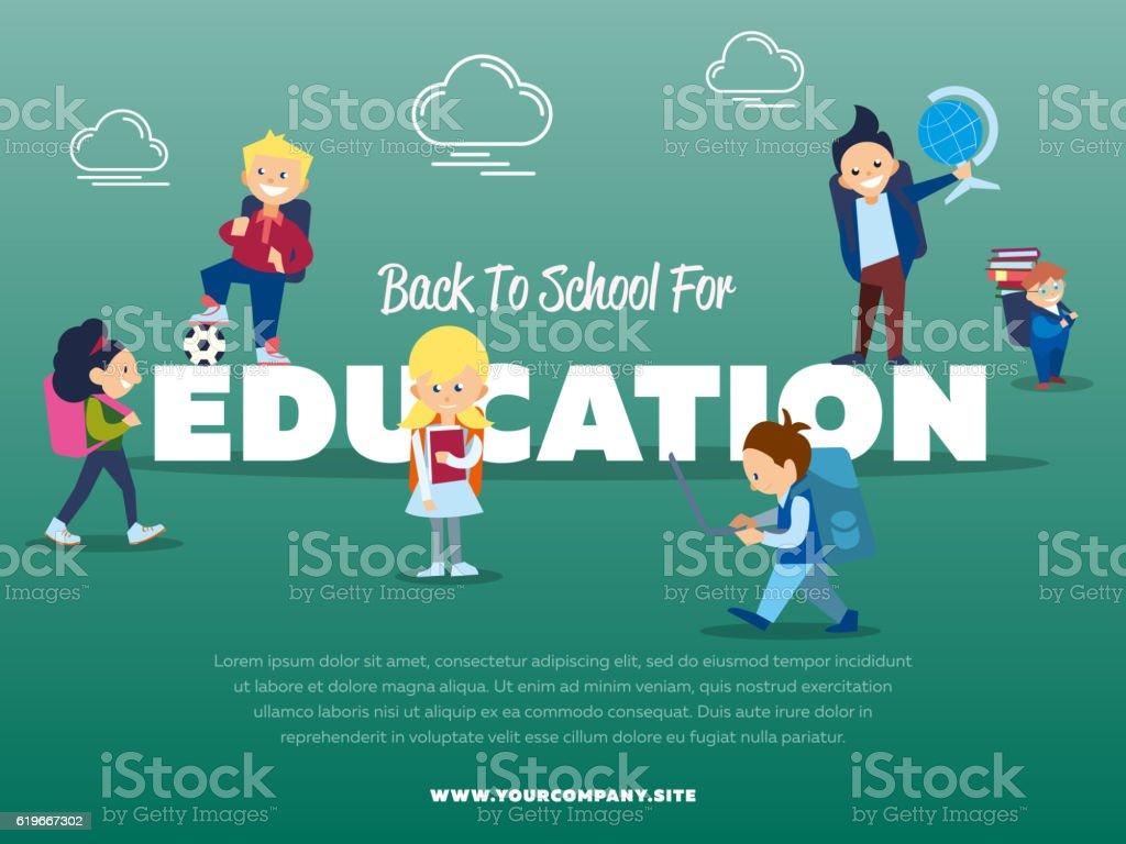 Back to school for education banner vector art illustration