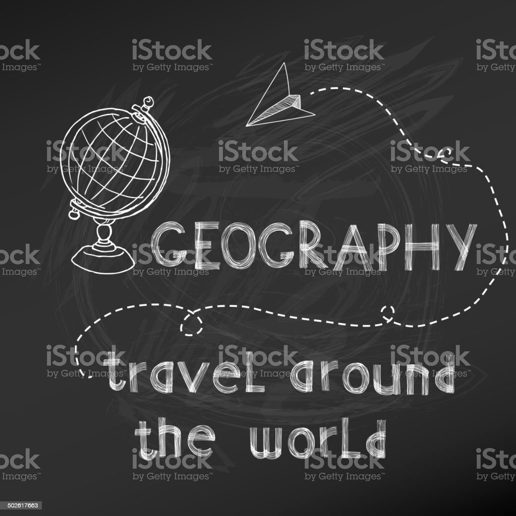 Back to School - Geography Sign on  chalk board vector art illustration
