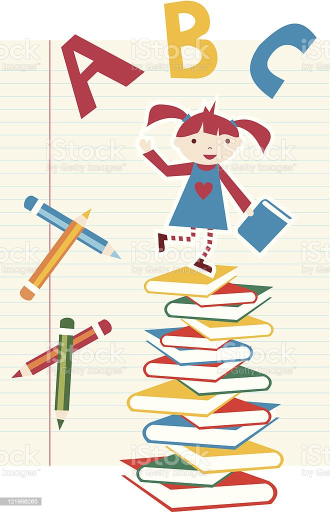 Back to school girl background royalty-free stock vector art