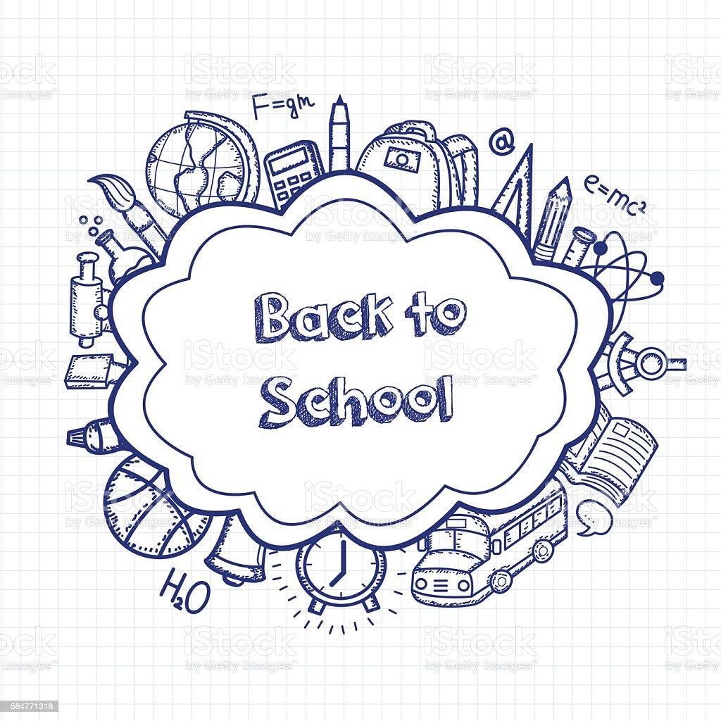 Back to school hand drawn doodles background. Education concept. royalty-free stock vector art