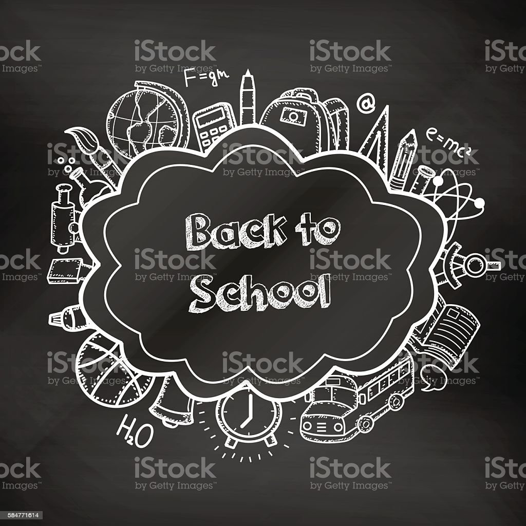 Back to school hand drawn doodles on a chalkboard. royalty-free stock vector art