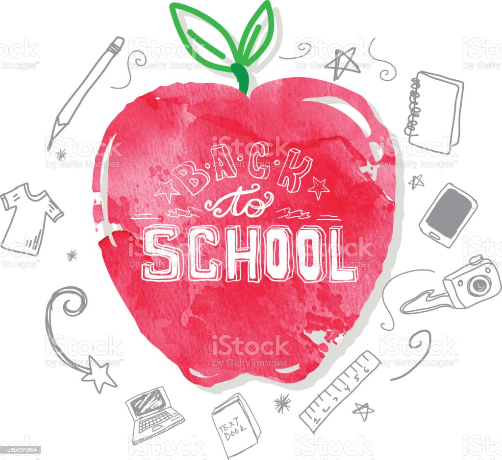 Back to school hand lettered text design elements on watercolor vector art illustration