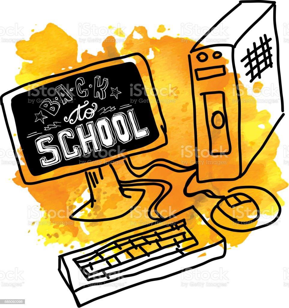 Back to school hand lettered text on desktop computer screen vector art illustration