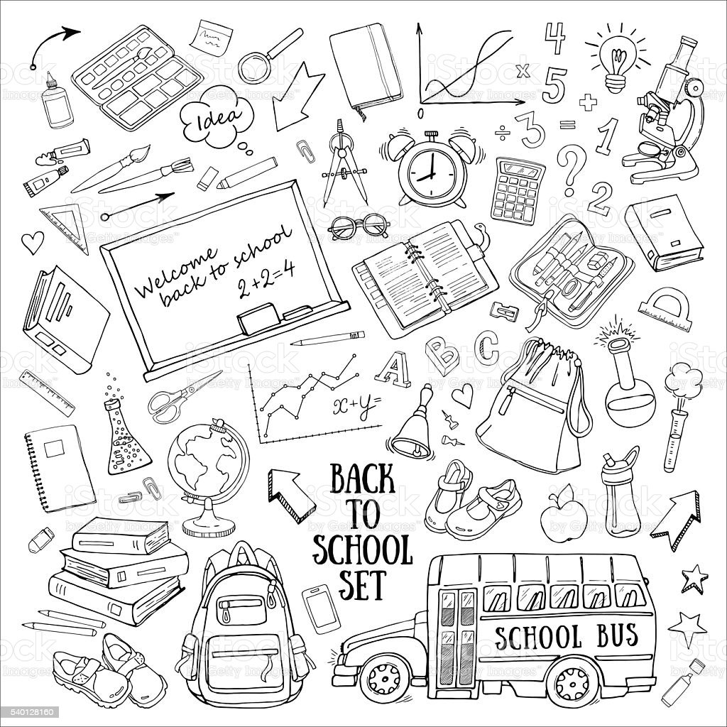 Back to school hand-drawn doodles set with supplies, schoolbus vector art illustration