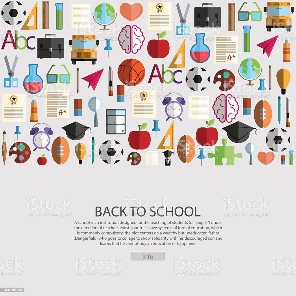 Back to School icon background, illustration vector. vector art illustration