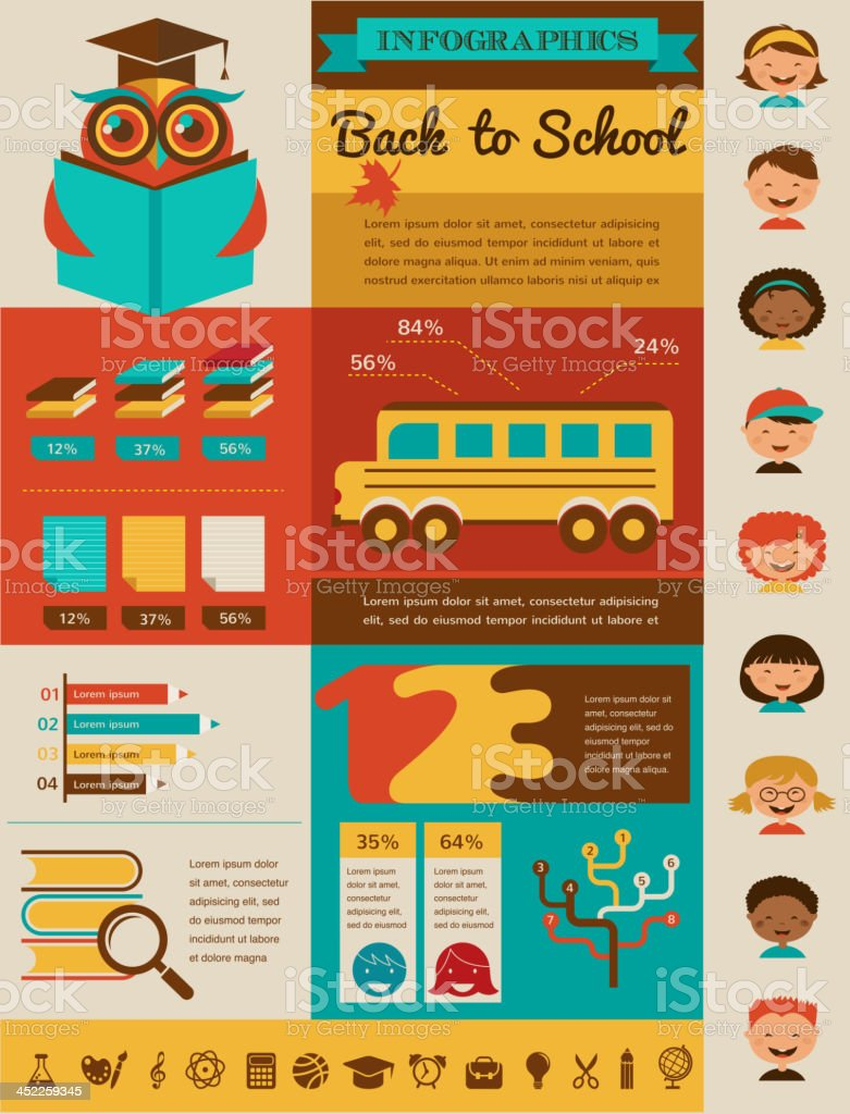 back to school infographic, data and graphic elements royalty-free stock vector art
