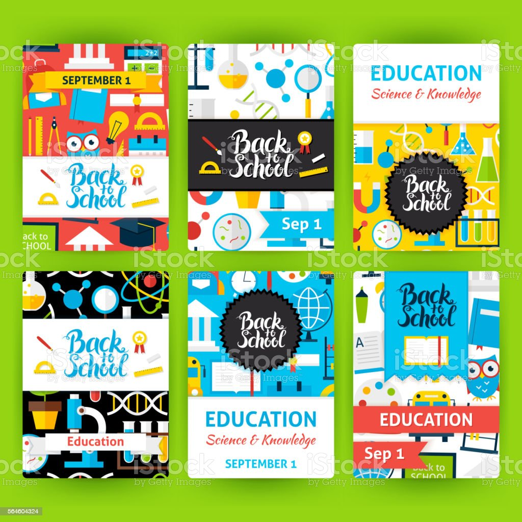 Back to School Label Greeting Invitation Set vector art illustration