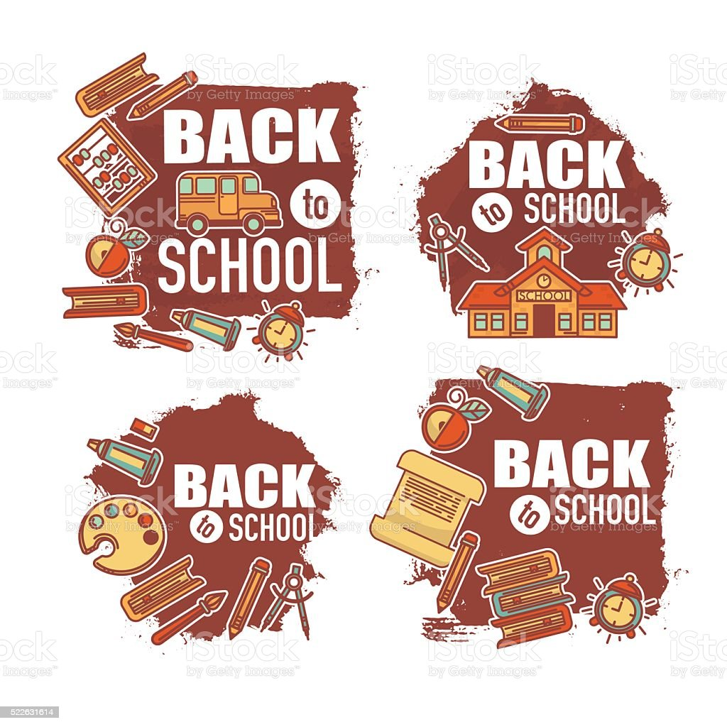 back to school labels and sticke, lineart on grunge background vector art illustration