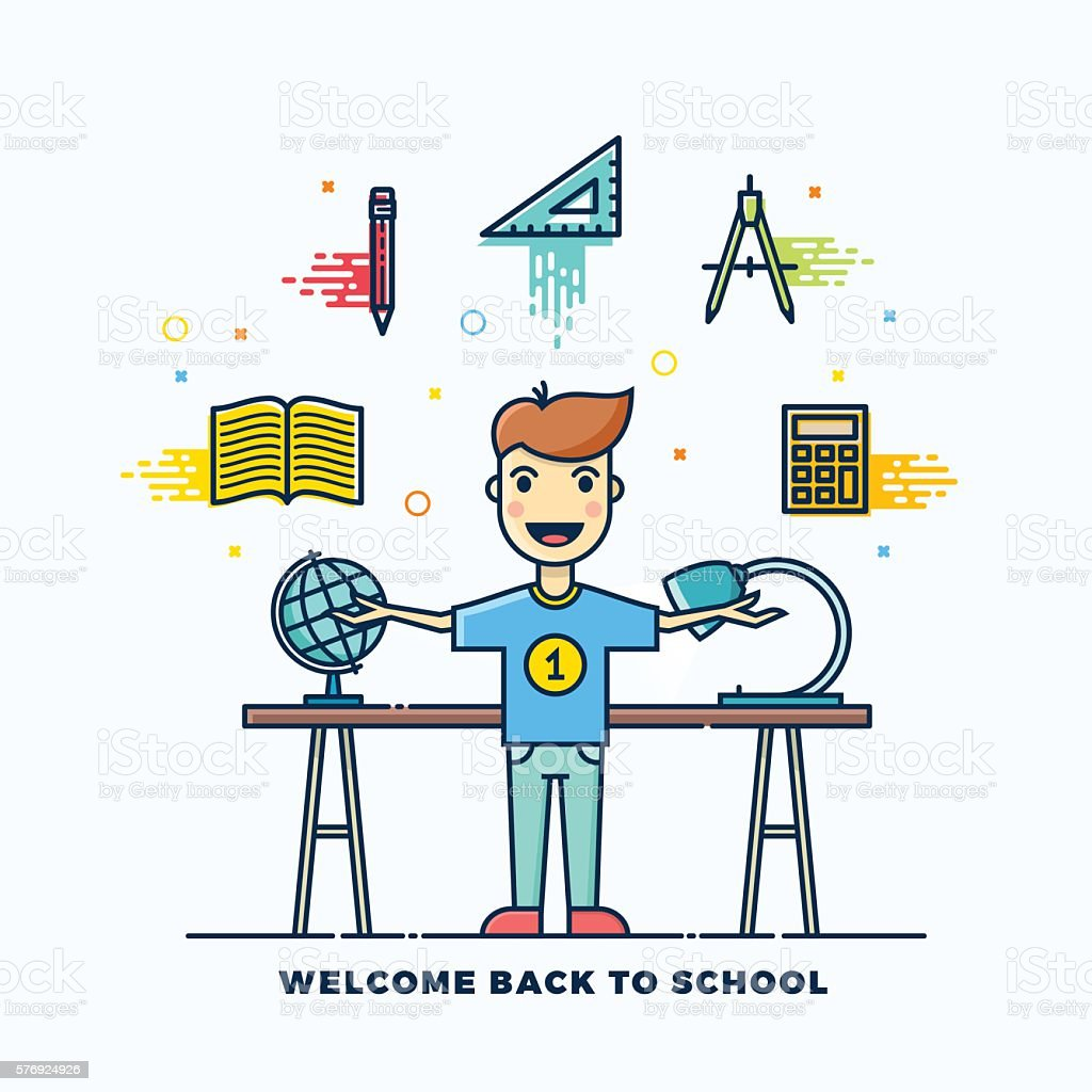 Back to School Line Style Flat Vector Illustration. Stationary Icons vector art illustration