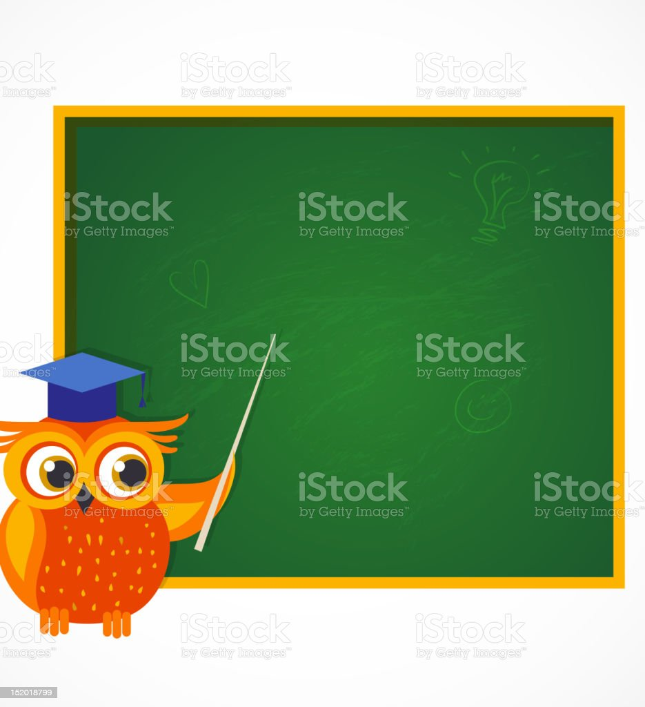 Back to School - owl near chalkboard vector art illustration