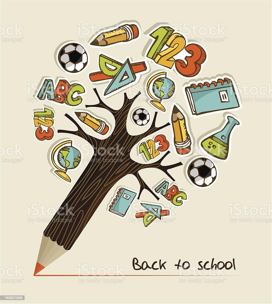 Back to School pencil tree royalty-free stock vector art