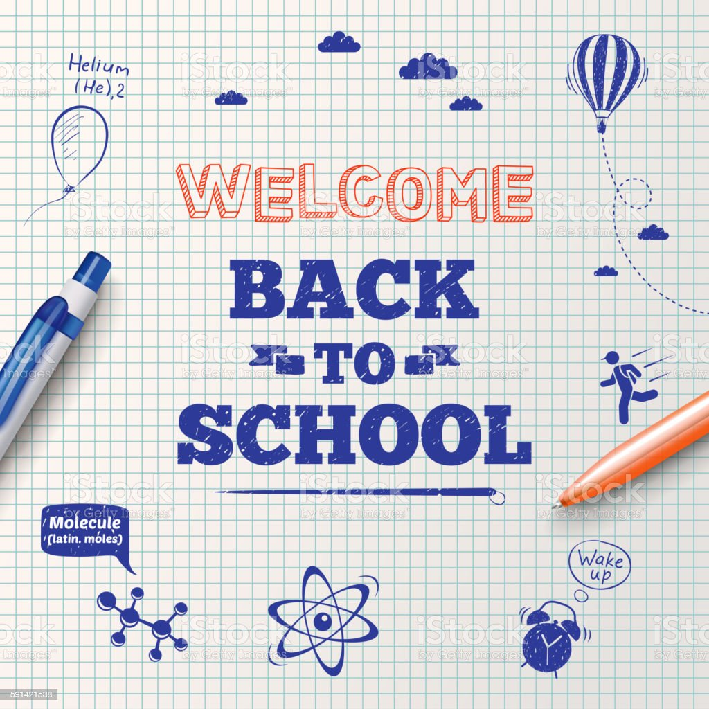 Back to school poster, education background. vector art illustration