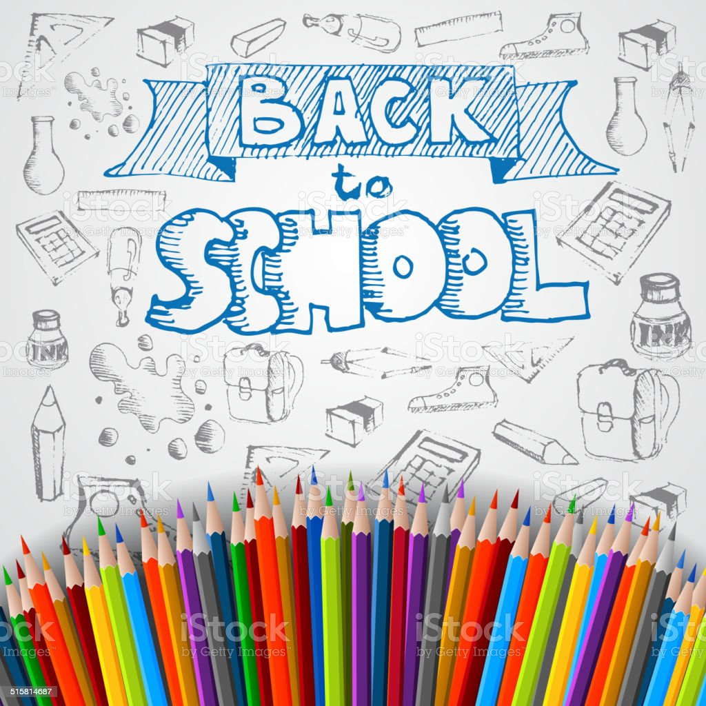 Back to school poster, vector colorful crayons vector art illustration