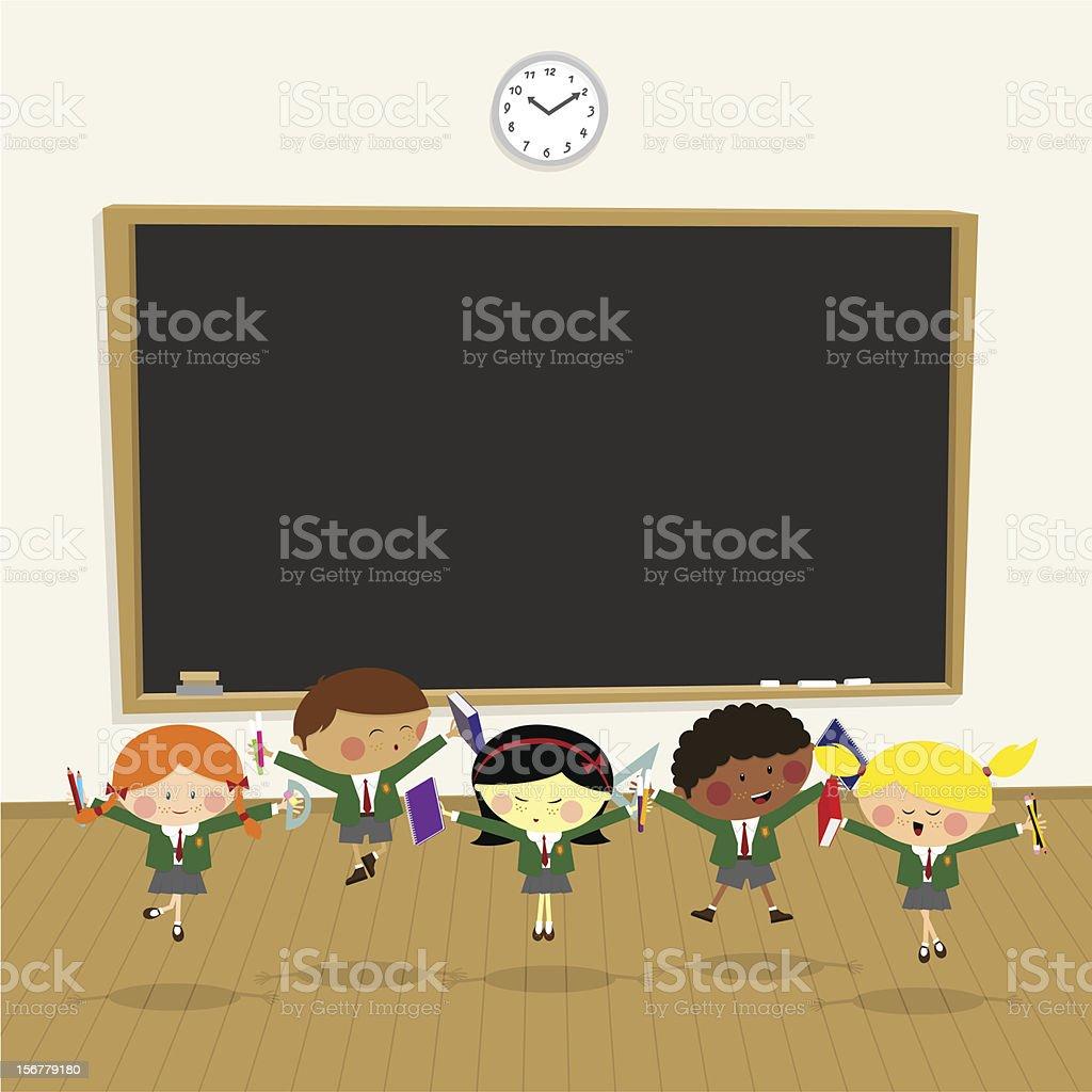 Back to school. pupil happy classroom,kids illustration vector vector art illustration