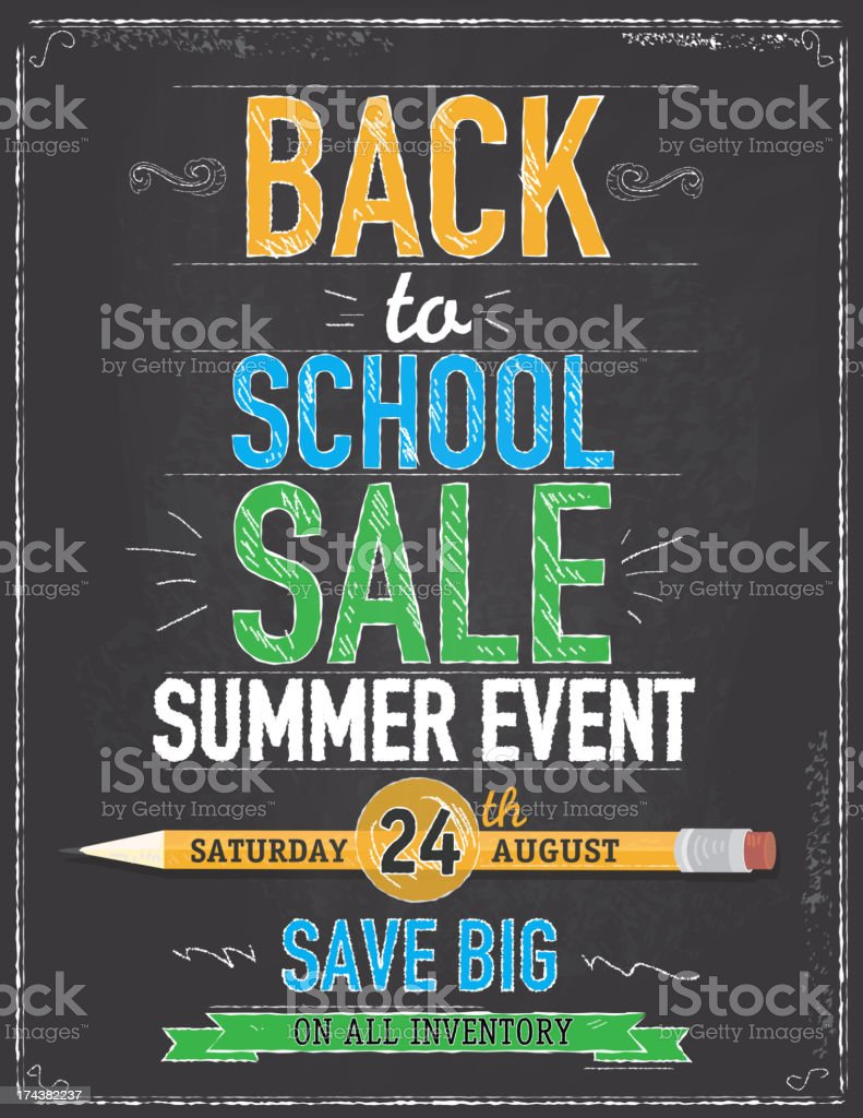 Back to school sale chalkboard design template vector art illustration