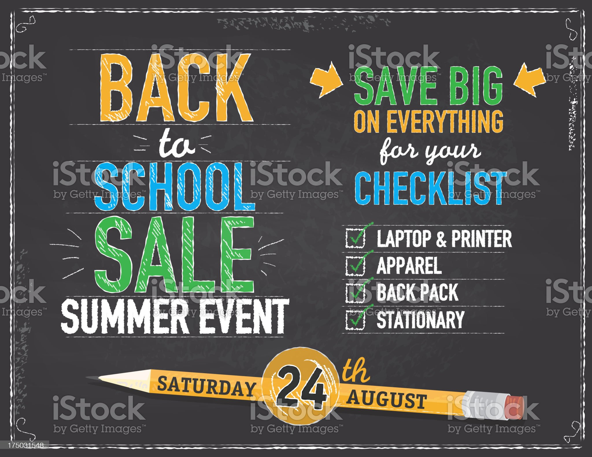Back to school sale design template horizontal composition royalty-free stock vector art
