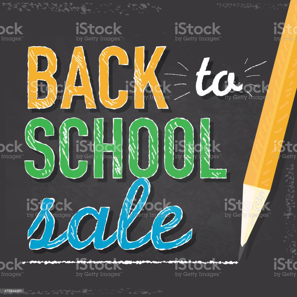 Back to school sale design template square composition royalty-free stock vector art