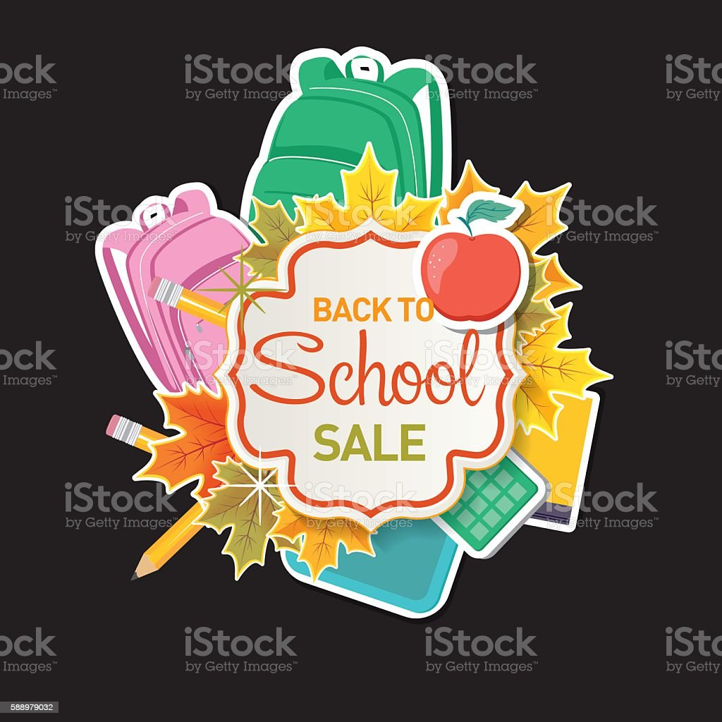 Back To School Sale Tag or Label with Education Icons vector art illustration