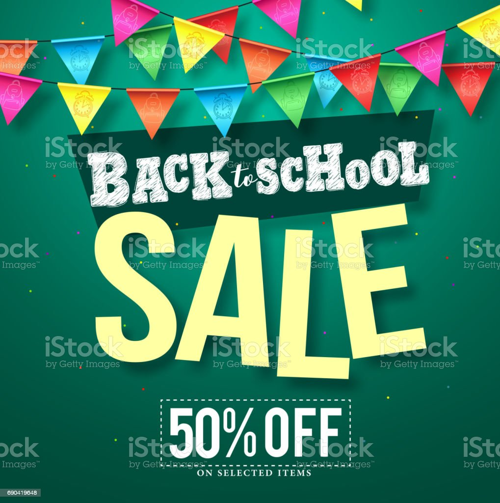 Back to school sale vector design with colorful streamers hanging vector art illustration