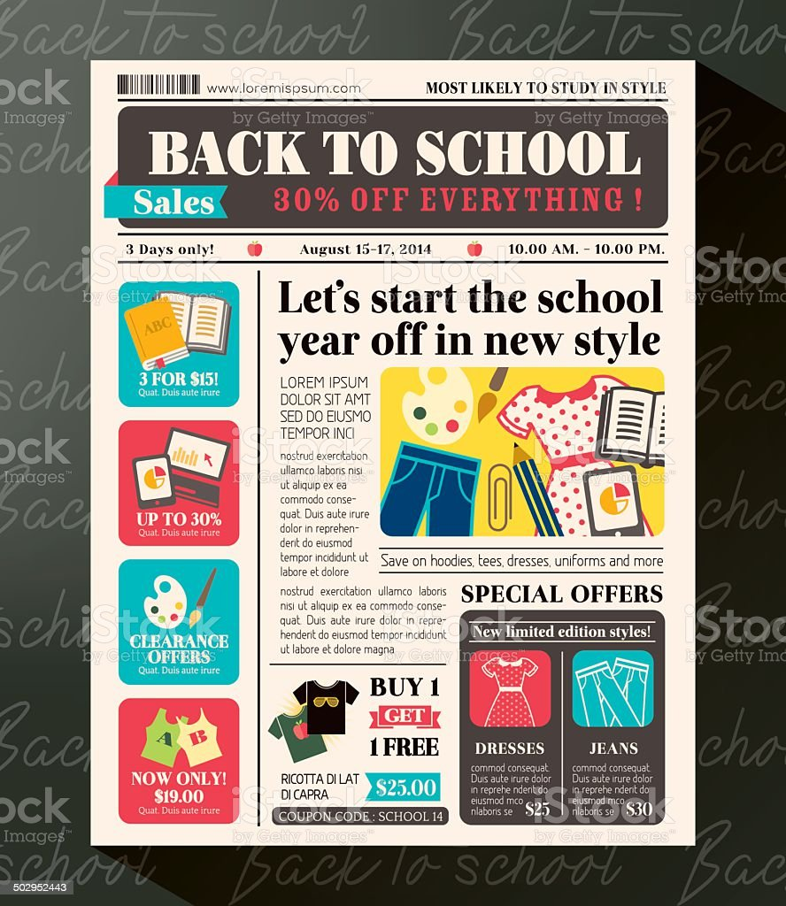 Back to School Sales Promotional Design Template in Newspaper style vector art illustration